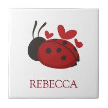 personalized cute ladybug tile