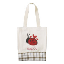 personalized cute ladybug zazzle HEART tote bag