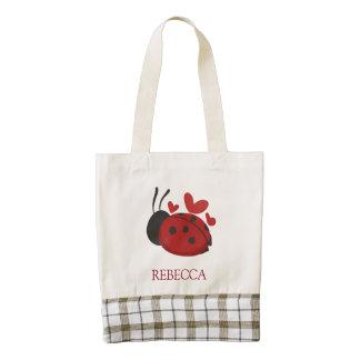 personalized cute ladybug zazzle HEART tote bag