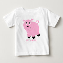Personalized Cute Little Pink Pig Girls Baby T-Shirt