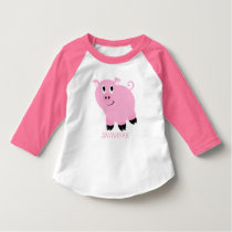 Personalized Cute Little Pink Pig Girls T-Shirt