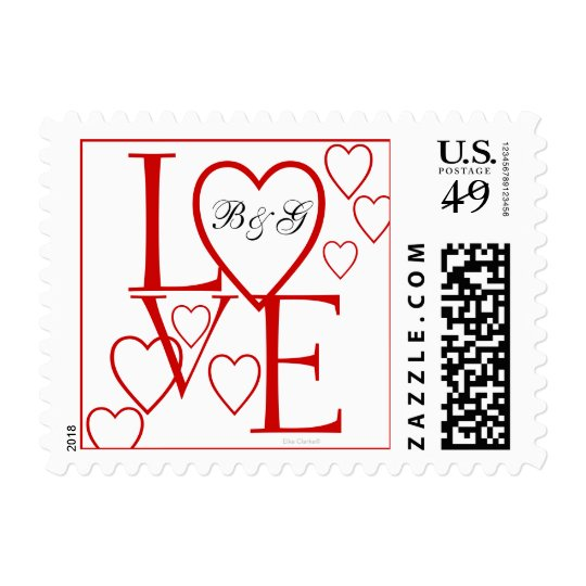 Personalized Cute Love Stamp | Red Hearts