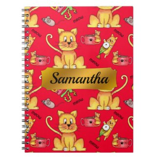 Personalized Cute Meow Cats Red Notebook