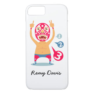 Personalized Cute Mexican Wrestler Illustration iPhone 7 Case