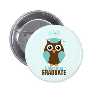 Personalized Cute Mint Owl Kindergarten Graduate 2 Inch Round Button