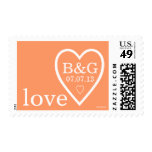 Personalized Cute Modern Love Heart Peach Postage Stamp