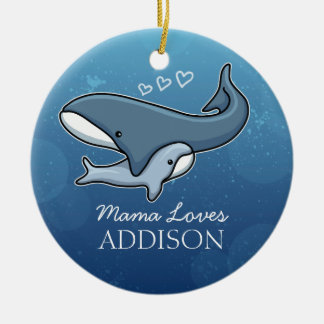 Personalized Cute Mom Baby Whale, Add Kids Name Ceramic Ornament