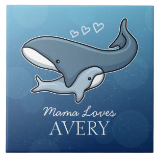 Personalized Cute Mom Baby Whale, Add Kids Name Ceramic Tile