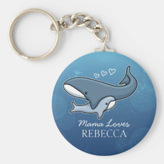 Personalized Cute Mom Baby Whale, Add Kids Name Keychain