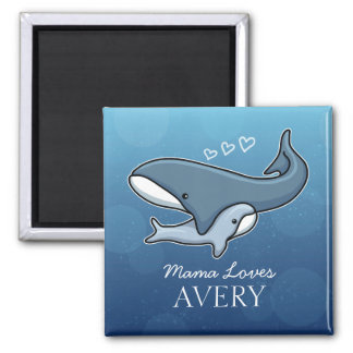 Personalized Cute Mom Baby Whale, Add Kids Name 2 Inch Square Magnet