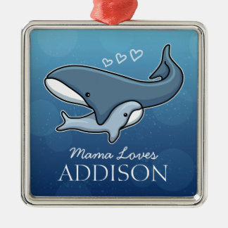 Personalized Cute Mom Baby Whale, Add Kids Name Metal Ornament
