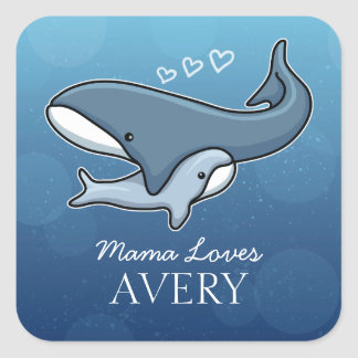 Personalized Cute Mom Baby Whale, Add Kids Name Square Sticker