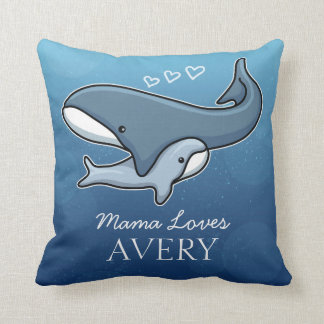 Personalized Cute Mom Baby Whale, Add Kids Name Throw Pillow