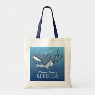 Personalized Cute Mom Baby Whale, Add Kids Name Tote Bag
