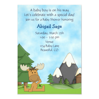 Personalized Cute Mountain Moose Boys Baby Shower Card
