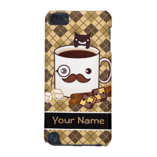 Personalized cute mustache cup on brown argyle iPod touch 5G case