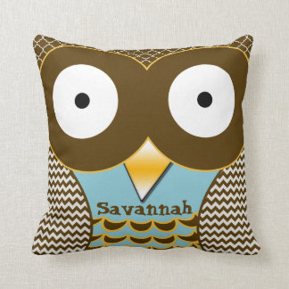 Personalized Cute Owl Blue & Orange American Mojo Pillow