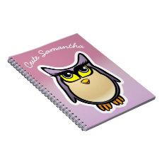 Personalized Cute Owl Cartoon With Big Eyelashes Notebook