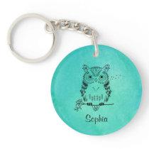 Personalized Cute Owl Illustration Keychain