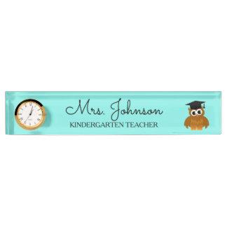 Personalized cute owl kindergarten school teacher desk name plate