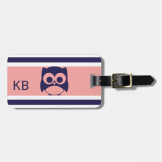 Personalized Cute Owl Pattern | Blue Coral Luggage Tag