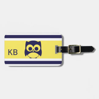 Personalized Cute Owl Pattern | Blue Yellow Luggage Tag