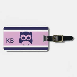 Personalized Cute Owl Pattern | Lilac Navy Blue Bag Tag