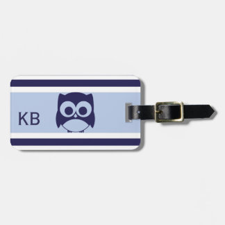 Personalized Cute Owl Pattern | Navy Blue Bag Tag