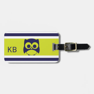 Personalized Cute Owl Pattern | Navy Blue Lime Luggage Tag