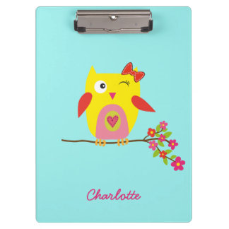Personalized Cute Owl Yellow Pink Illustration Clipboard