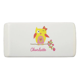 Personalized Cute Owl Yellow Pink Illustration Eraser