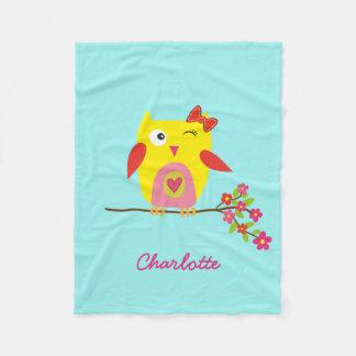 Personalized Cute Owl Yellow Pink Illustration Fleece Blanket