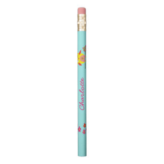 Personalized Cute Owl Yellow Pink Illustration Pencil