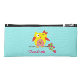 Personalized Cute Owl Yellow Pink Illustration Pencil Case