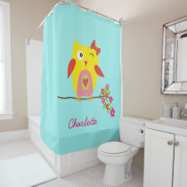 Personalized Cute Owl Yellow Pink Illustration Shower Curtain