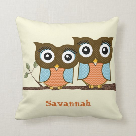 Personalized Cute Owls Blue Orange Trendy Patterns Throw Pillow