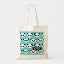 Personalized Cute Panda Bear Animal Kawaii Pattern Tote Bag