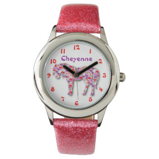Personalized Cute Pink and Purple Heart Horse Pony Wrist Watch