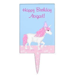 Personalized Cute Pink and White Unicorn Birthday Cake Topper