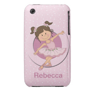 Personalized Cute Pink Ballerina 2 Ballet Star Case-Mate iPhone 3 Cases