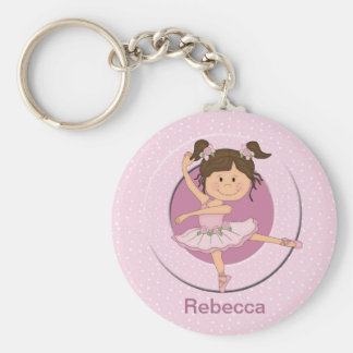 Personalized Cute Pink Ballerina Basic Round Button Keychain