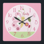 """Personalized Cute Pink Butterfly Nursery Clock<br><div class=""""desc"""">Personalized Cute Pink Butterfly Baby Nursery Clock. Available in 3 sizes. I have several matching items in my Zazzle store.</div>"""