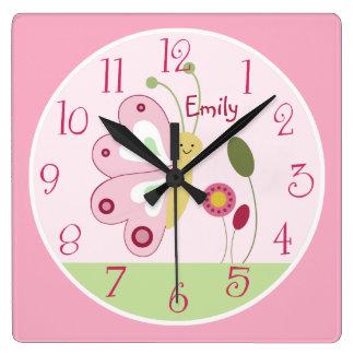 Personalized Cute Pink Butterfly Nursery Clock