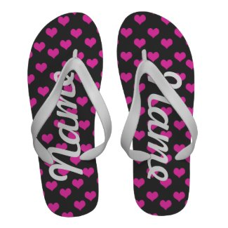 Personalized Cute Pink Colors Hearts Pattern Flip Flops