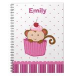 Personalized cute pink cupcake monkey notebook