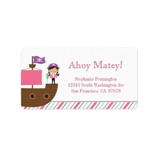 Personalized cute pink girl's pirate address label