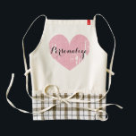 "Personalized cute pink heart apron for women<br><div class=""desc"">Personalized cute pink heart apron for women. Cute cooking / baking aprons for mom,  aunt,  grandma,  sister etc. Elegant typography with weathered love symbol. Personalizable with name,  monogram or fun slogan. Vintage icon.</div>"
