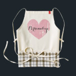"""Personalized cute pink heart apron for women<br><div class=""""desc"""">Personalized cute pink heart apron for women. Cute cooking / baking aprons for mom,  aunt,  grandma,  sister etc. Elegant typography with weathered love symbol. Personalizable with name,  monogram or fun slogan. Vintage icon.</div>"""