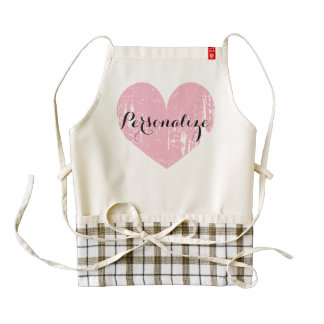 Personalized cute pink heart apron for women