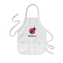 Personalized cute pink ladybug aprons for kids